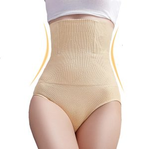 Beige sexy High Waist Tummy Tuck Waist Shaping Panty